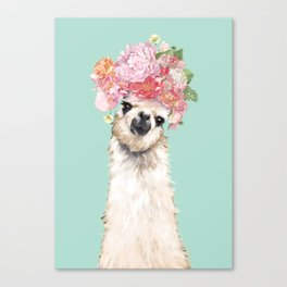Llama with Flowers Crown #3 Canvas Print