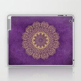 Golden Flower Mandala on Textured Purple Background Laptop & iPad Skin