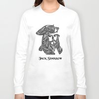 jack sparrow Long Sleeve T-shirts featuring Captain Jack Sparrow by christoph_loves_drawing