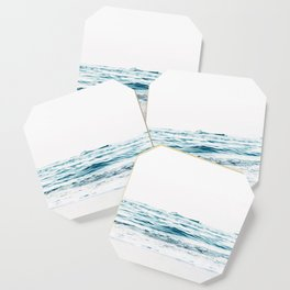 Water, Sea, Ocean, Water, Blue, Nature, Modern art, Art, Minimal, Wall art Coaster