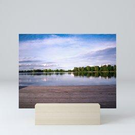 The jetty to the lake Mini Art Print