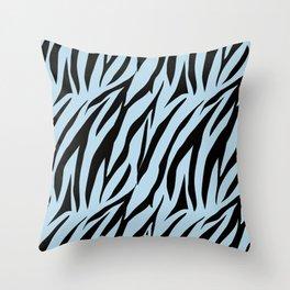 Zebra. 1  Black stripes on light blue background. Throw Pillow