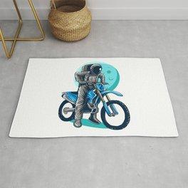 Astronaut Riding Dirt Bike Motocross Illustration Design Rug