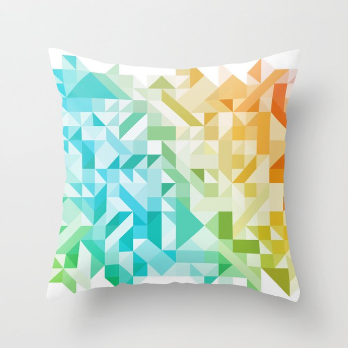 Colorful Geometric Pattern Saturated Rainbow Pattern Design (Red Pink Orange Yellow Green Blue) Throw Pillow