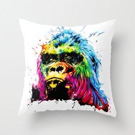 Rainbow Gorilla Throw Pillow
