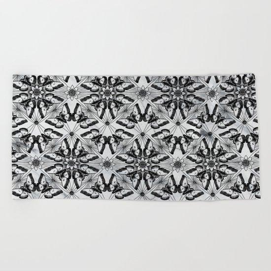 Marble black butterfly pattern Beach Towel