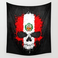 peru Wall Tapestries featuring Flag of Peru on a Chaotic Splatter Skull by Jeff Bartels