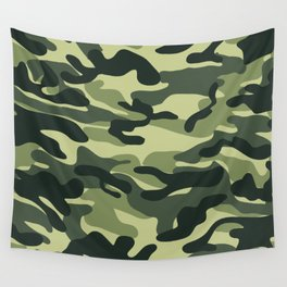 Green Military Camouflage Pattern Wall Tapestry