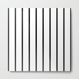 Vertical Lines (Black & White Pattern) Metal Print