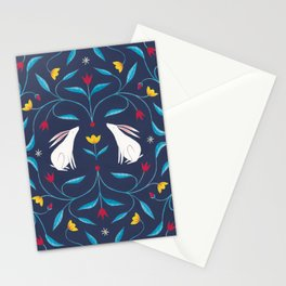 Night-Time Rabbits Stationery Cards