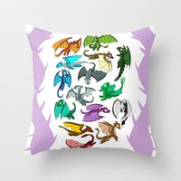 dragons Throw Pillows featuring Dragons by prpldragon