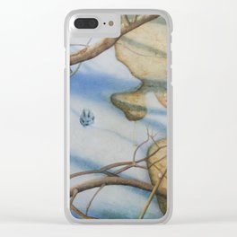 Paw Prints in the Snow Clear iPhone Case