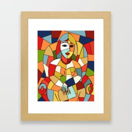 Woman with a Kindle #6 Framed Art Print
