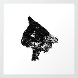 Double exposure black cat Art Print