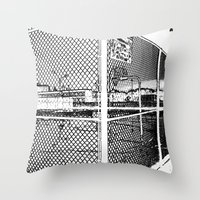 outdoor Throw Pillows featuring outdoor basketball court black and white by Dragonheart