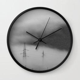 Fog over industrial city Wall Clock