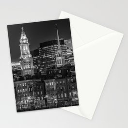 BOSTON Evening Skyline of North End & Financial District | Monochrome Stationery Cards