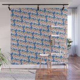 Golfing Trendy Rainbow Text Pattern (Blue) Wall Mural
