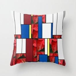 Mottled Red Poinsettia 1 Ephemeral Art Rectangles 4 Throw Pillow