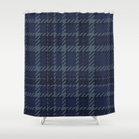 plaid Shower Curtains featuring Plaid by Xiao Twins