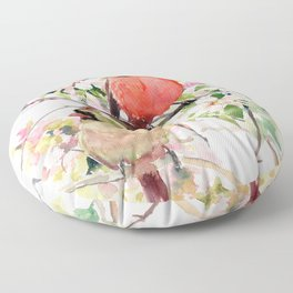 Cardinal Birds and Spring, cardinal bird design Floor Pillow