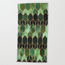 Stained Glass 5 - Forest Green Beach Towel