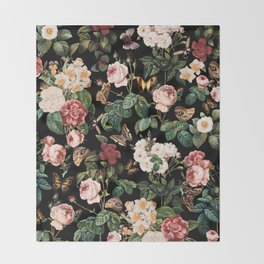 Floral and Butterflies Throw Blanket
