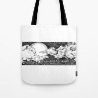 8 bit Tote Bags featuring 8 Bit Sky by Corinne Elyse