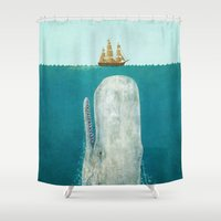 white marble Shower Curtains featuring The Whale  by Terry Fan