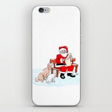 Merry Christmas - Santa Claus with Cat and Dog iPhone & iPod Skin