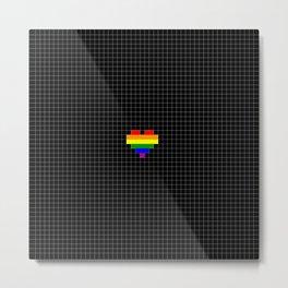 Pixel Love (rainbow square heart on black) Metal Print