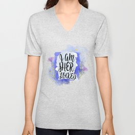 i am sher locked Unisex V-Neck