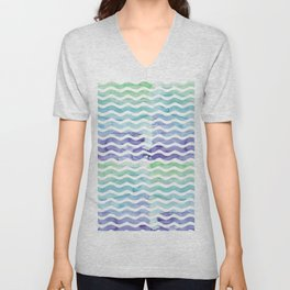 Modern teal blue watercolor hand painted waves Unisex V-Neck