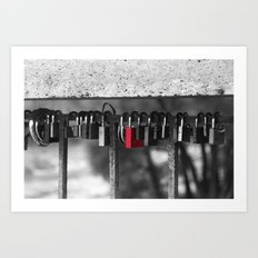 Red lock Art Print