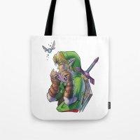 zelda Tote Bags featuring Zelda by Melina Espinoza