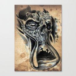 Tattoo skull Hour glass Canvas Print