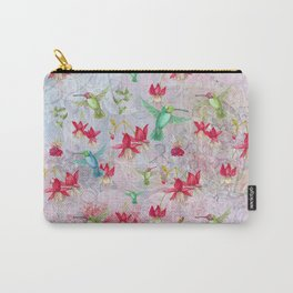 Vintage Watercolor hummingbird and Fuchsia Flowers on pink Background Carry-All Pouch