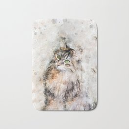 Duchess Watercolor Cat Bath Mat