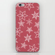 Snowflakes On Pastel Red Background iPhone & iPod Skin