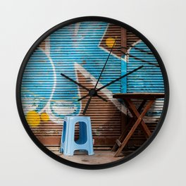 """Travel Photography """"urban street photography with graffiti in blue, yellow, in Istanbul. Photo print Wall Clock"""
