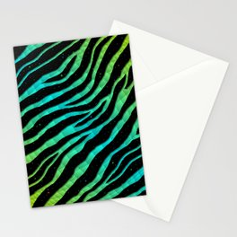 Ripped SpaceTime Stripes - Lime/Cyan Stationery Cards