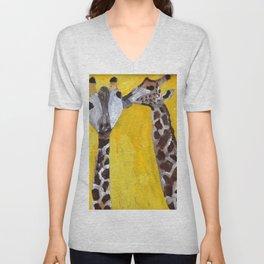 Kissing girafs Unisex V-Neck