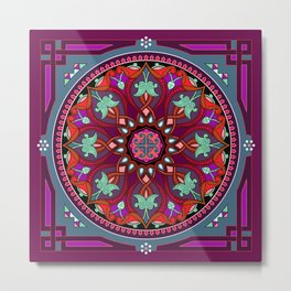 Boho Floral Crest Red and Purple Metal Print
