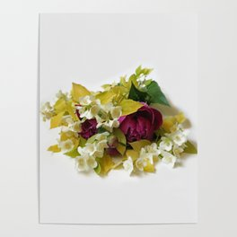 Golden Mock Orange and Pink Peonies Poster