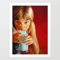 milk Art Prints featuring Milk by Raquel García Maciá