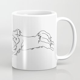 Beautiful Tibetan Spaniel Girl Minimalist Outline Artwork Coffee Mug
