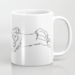 Beautiful Tibetan Spaniel Girl Minimalist Outline Artwork Coffee Mug
