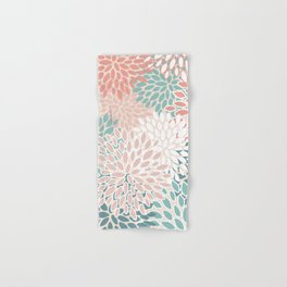 Festive, Floral Prints, Teal Green, Peach, Coral, Colour Prints Hand & Bath Towel