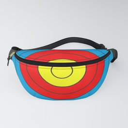 Yellow, red, blue, black target on white background Fanny Pack