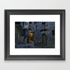 Blue and gray night Framed Art Print